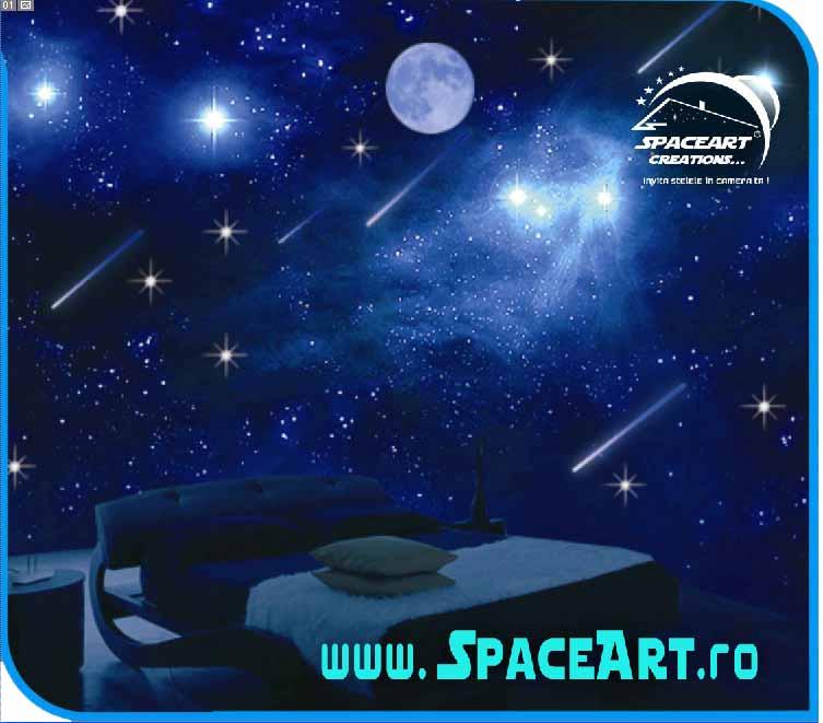 Franciza SpaceArt Decoratiuni Interioare Amenajari Unicat Dormitor amenajat cu Cer Instelat